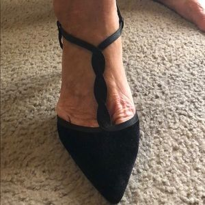 Black velvet pumps